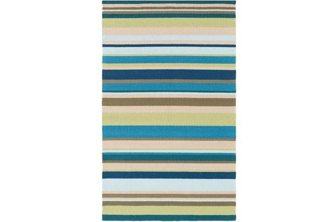 60X96 Outdoor Rug-Montego Stripe Blue/Green - 360