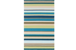 96X120 Outdoor Rug-Montego Stripe Blue/Green