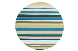 96 Inch Round Outdoor Rug-Montego Stripe Blue/Green