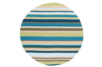 96 Inch Round Outdoor Rug-Montego Stripe Blue/Green