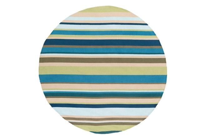 96 Inch Round Outdoor Rug-Montego Stripe Blue/Green - 360