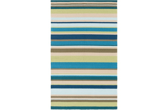 108X144 Outdoor Rug-Montego Stripe Blue/Green - 360