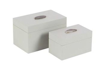 2 Piece Set White Agate Box