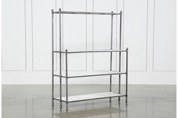 Polished White Marble & Gunmetal Open Bookcase