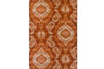61X84 Outdoor Rug-Orange Large Ikat