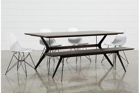 Weaver Dark 6 Piece Dining Set With Alexa White Side Chairs