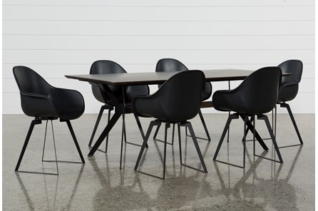Weaver Dark 7 Piece Dining Set With Alvin Arm Chairs