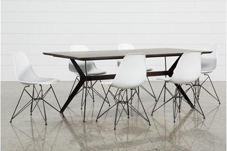 Weaver Dark 7 Piece Dining Set With Alexa White Side Chairs