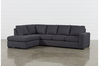 "Lucy Dark Grey 2 Piece 114"" Sectional With Left Arm Facing Chaise"