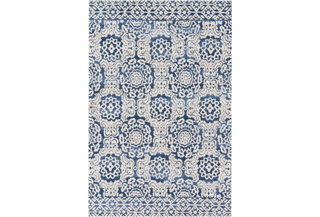 93X117 Rug-Magnolia Home Lotus Blue/Antique Ivory By Joanna Gaines - 360