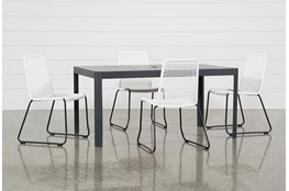 Outdoor Andaz Dining Table With 4 Pilo White Side Chairs