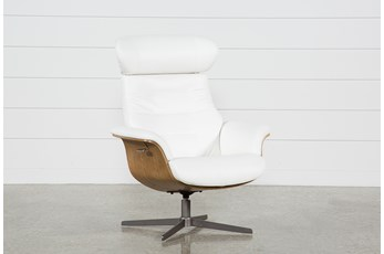 Amala White Leather Reclining Swivel Chair With Adjustable Headrest