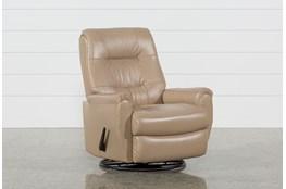 Rogan Leather Cafe Latte Swivel Glider Recliner
