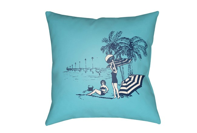 Outdoor Accent Pillow-Aqua Vintage Beach 18X18 - 360