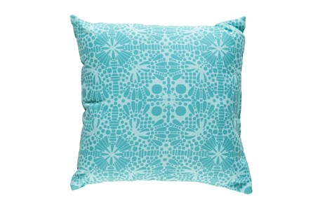 Outdoor Accent Pillow-Henna Pattern Aqua 18X18