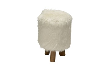 Youth-Round Faux Fur Stool