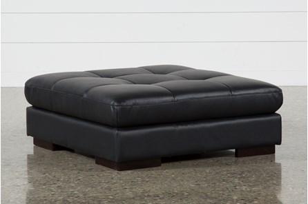 Vaughn II Onyx Leather Ottoman