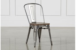Burton Metal Side Chair With Wooden Seat