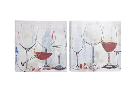 Picture-Wine Glasses Set Of 2 16X16