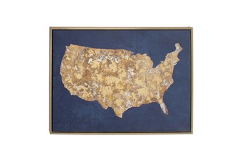 Picture-Cobalt And Gold Us Map 39X29