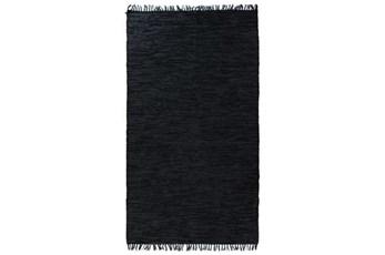 99X123 Rug-Charcoal Handwoven Leather