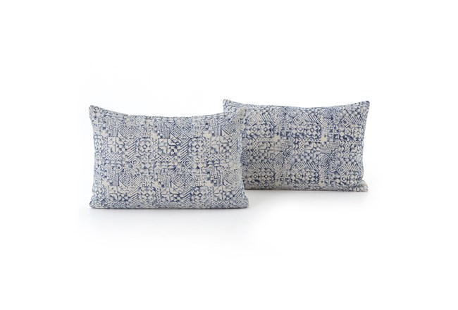 Accent Pillow-Faded Denim Mosaic Print 16X24 Set Of 2 - 360