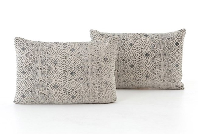 Accent Pillow-Faded Grey Print 16X24 Set Of 2 - 360