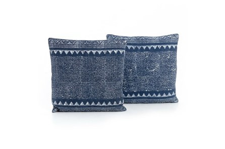 Accent Pillow-Faded Blue Tribal 20X20 Set Of 2
