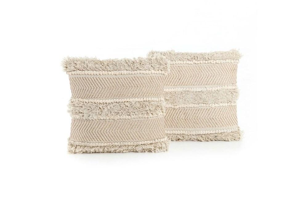 Accent Pillow-White Copper Fringe 18X18 Set Of 2