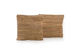 Accent Pillow-Brown Leather Stitch 20X20 Set Of 2