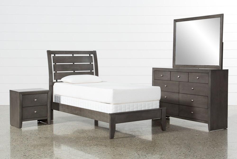 Chad Grey Twin 4 Piece Bedroom Set