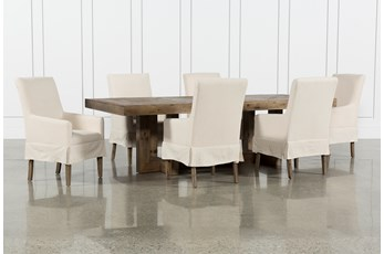 Palazzo 7 Piece Dining Set With Mindy Slip Cover Side Chairs