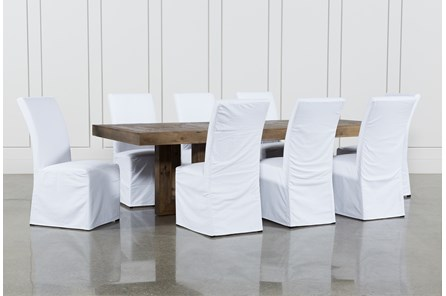 Palazzo 9 Piece Dining Set With Pearson White Side Chairs