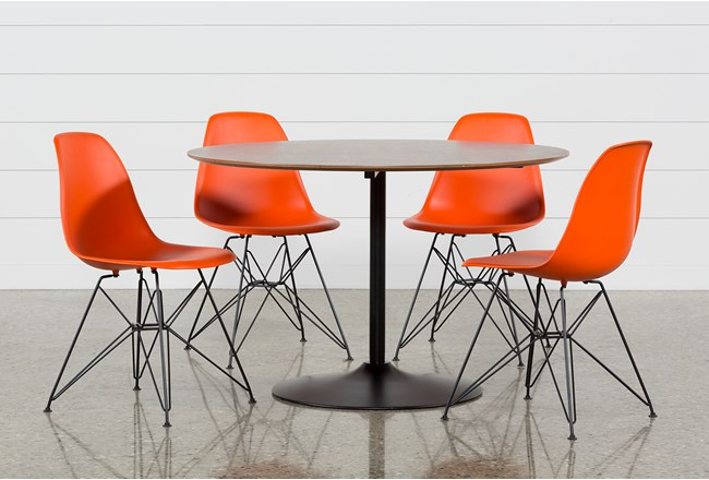 Vespa 5 Piece Round Dining Set With Alexa Firecracker Side Chairs - 360
