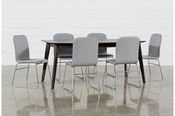 Swift 7 Piece Rectangular Dining Set With Zoey Side Chairs