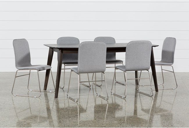 Swift 7 Piece Rectangular Dining Set With Zoey Side Chairs - 360
