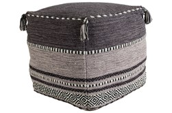 Pouf-Black And Grey Tassled