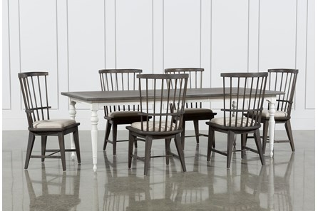 Candice II 7 Piece Extension Rectangular Dining Set With Slat Back Side Chairs