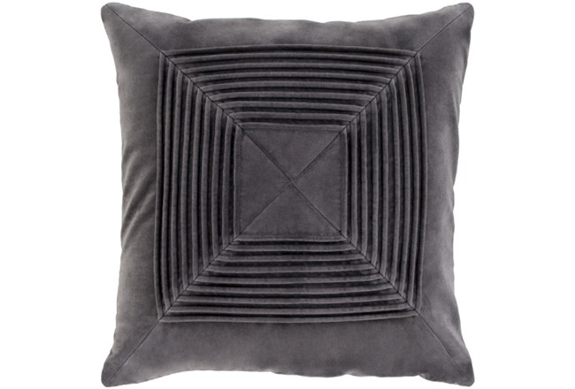 Accent Pillow-Cotton Velvet Box Pleat Charcoal 18X18 - 360