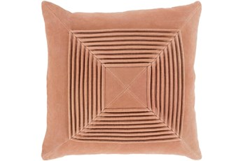 Accent Pillow-Cotton Velvet Box Pleat Peach 18X18