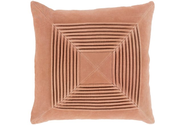 Accent Pillow-Cotton Velvet Box Pleat Peach 18X18 - 360