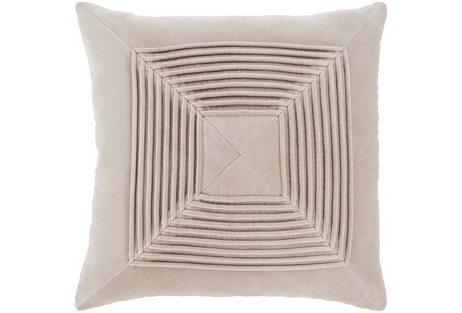 Accent Pillow-Cotton Velvet Box Pleat Stone 18X18 - 360