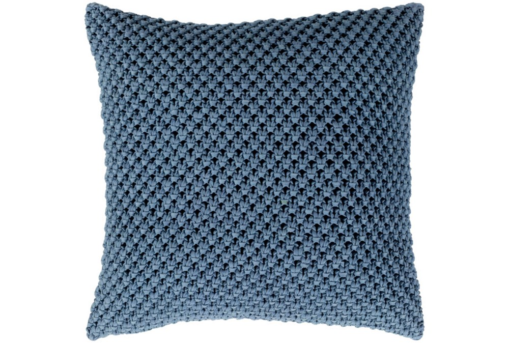 Accent Pillow-Crochet Cotton Denim Blue 18X18