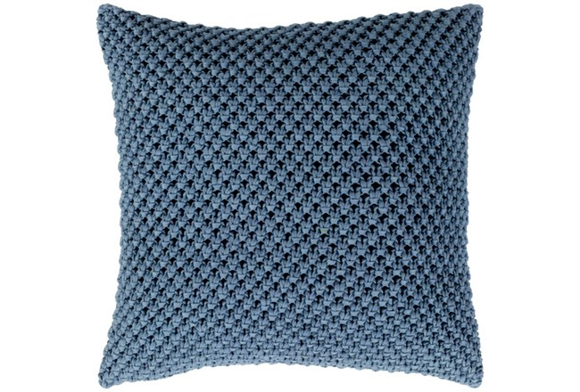 Accent Pillow-Crochet Cotton Denim Blue 18X18 - 360