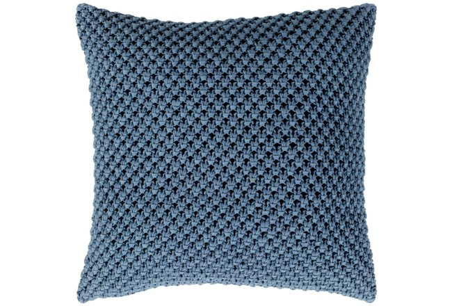 Accent Pillow-Crochet Cotton Denim Blue 20X20 - 360