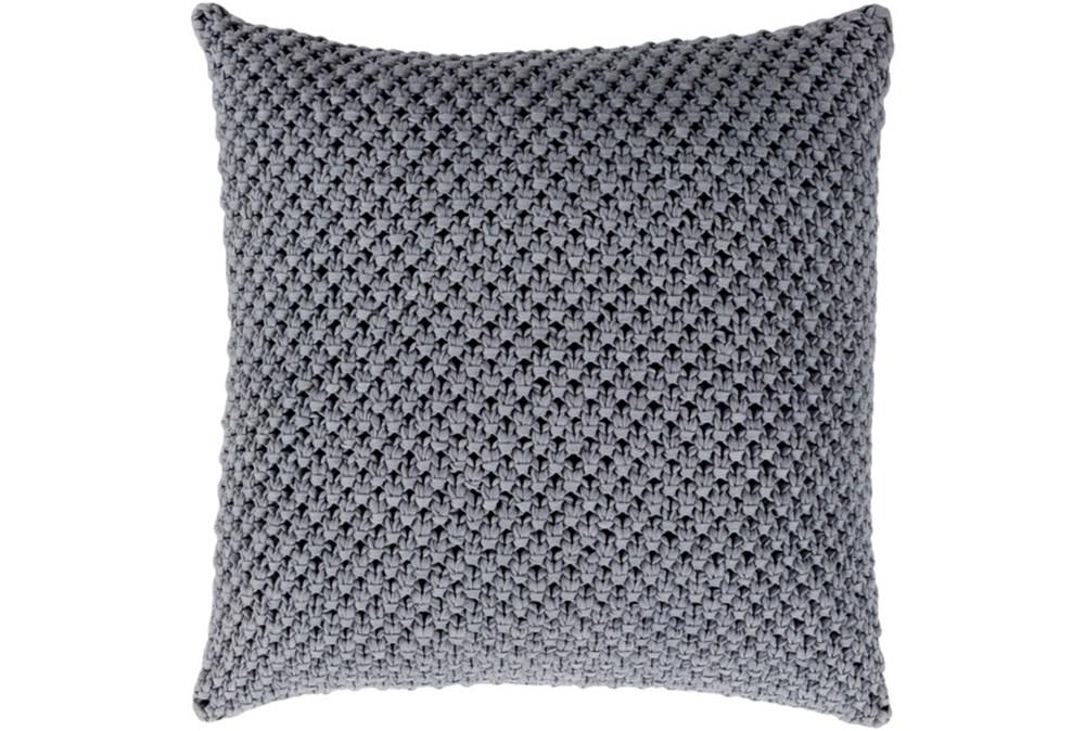 Accent Pillow-Crochet Cotton Grey 18X18