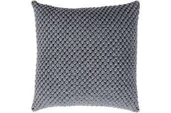 Accent Pillow-Crochet Cotton Grey 18X18