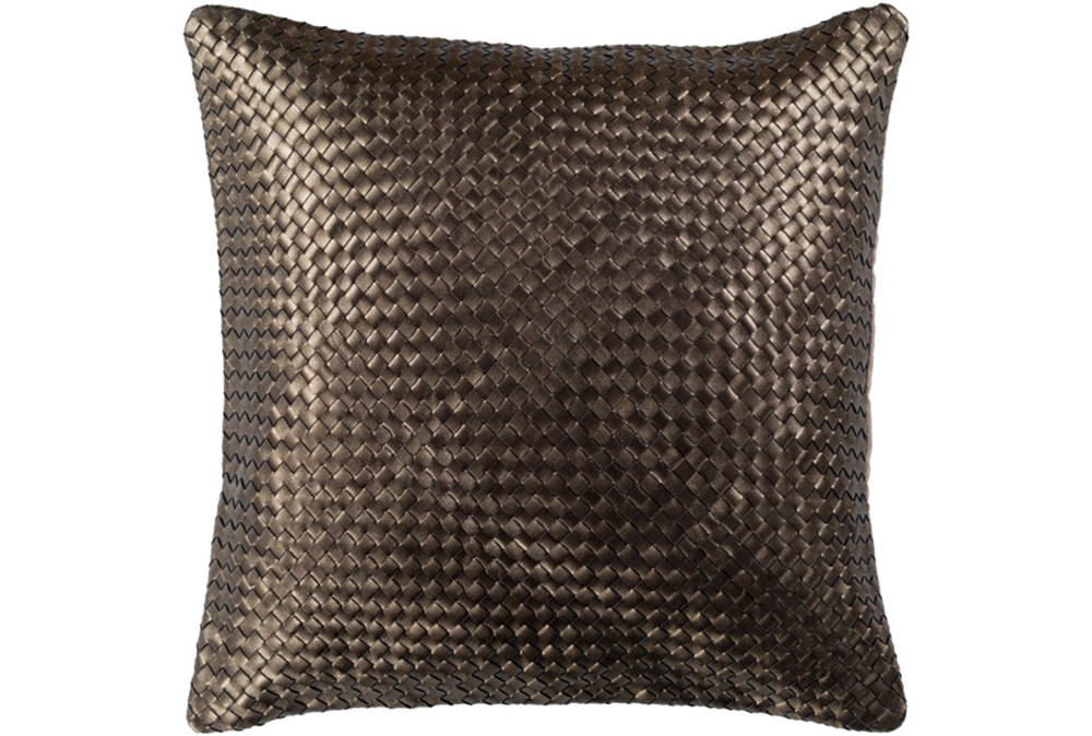 Accent Pillow-Woven Leather Bronze 20X20