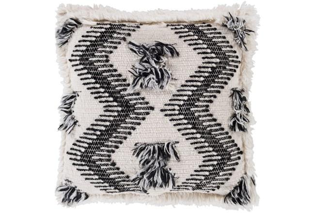 Accent Pillow-Brush Fringe Boho Black And Ivory 20X20 - 360
