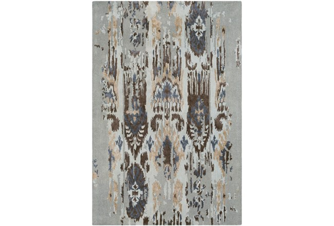 24X36 Rug-Wool Ikat Drip Grey & Brown - 360